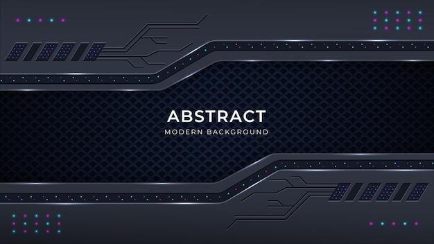 Moderne abstracte achtergrond met metalen kleurvormen, patronen, lichten, gloedeffect op een donkere achtergrond