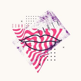 Moderne abstracte achtergrond met vlakke stijl vector partij poster