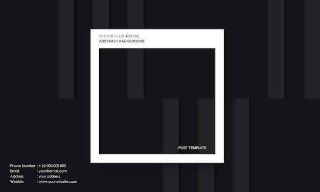 Moderne abstracte achtergrond zwarte dop en lijnen met postsjabloon concept