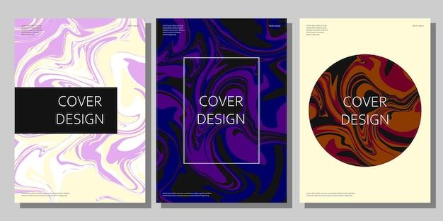 Moderne abstracte covers instellen creatieve vloeiende kleuren achtergronden vector sjabloon voor spandoek en poster