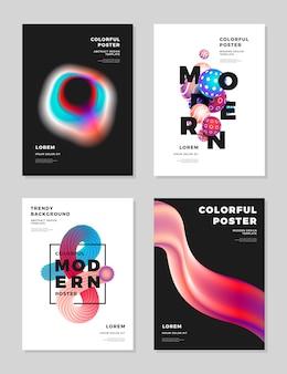 Moderne abstracte dekking ontwerp sjabloon vloeistof hologram vormen samenstelling