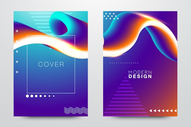 Moderne abstracte deksels instellen. koele kleurverloop samenstelling