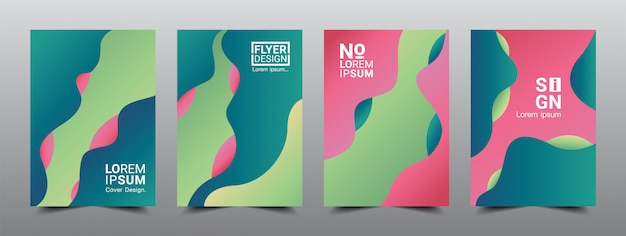 Moderne abstracte dekt lay-outontwerpsjabloon 4 vastgesteld kunstwerk.
