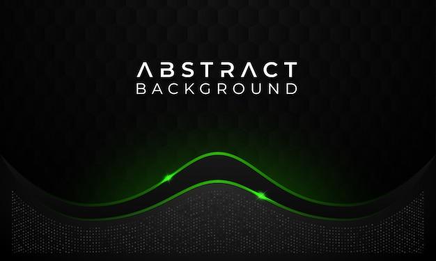 Moderne abstracte donkere achtergrond met groene gloeiende lijn