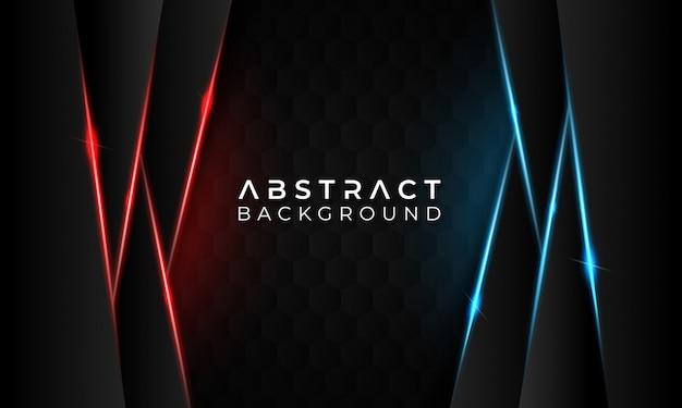 Moderne abstracte donkere achtergrond op zeshoek met gloed rode en blauwe lijnen