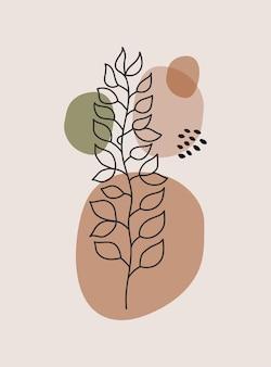 Moderne abstracte esthetische achtergrond met geometrische organische vormen en tak muur boho decor