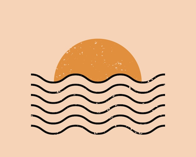 Moderne abstracte esthetische achtergrond met zon en geometrische golven.