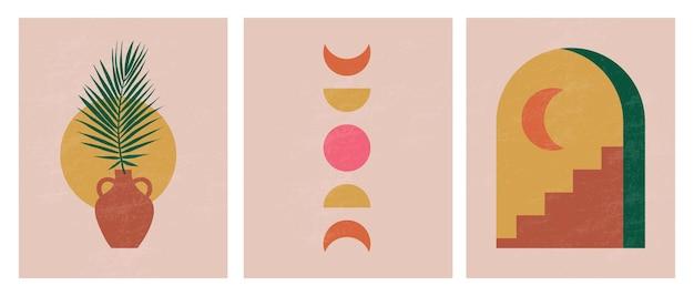 Moderne abstracte esthetische illustraties wanddecor in boheemse stijl