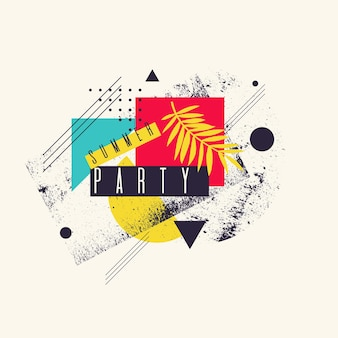 Moderne abstracte geometrische achtergrond met vlakke stijl. vector feestposter met elementen voor ontwerp