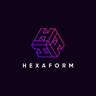 Moderne abstracte geometrische drievoudige h-logo ontwerpsjabloon