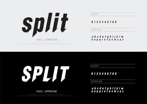 Moderne abstracte gespleten lettertype alfabet nummers cursief