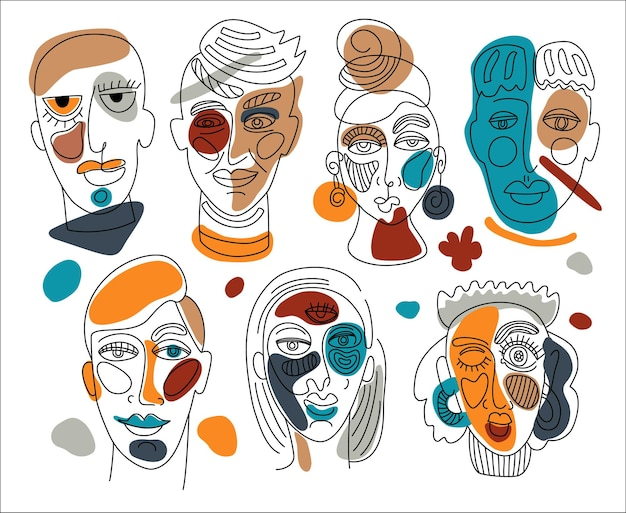 Moderne abstracte gezichten. hedendaagse vrouwelijke man silhouetten.
