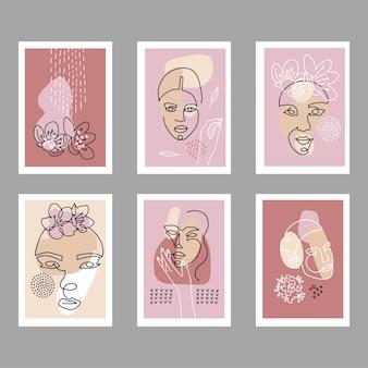 Moderne abstracte gezichten poster set. eigentijdse vrouwelijke silhouetten met abstract decor.