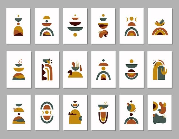 Moderne abstracte grote set esthetische achtergronden met kleurrijke vormen op witte achtergrond