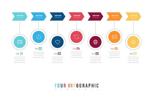 Moderne abstracte infographic met zeven stappen of verwerkt elementen en pictogrammen. bedrijfsconcept.