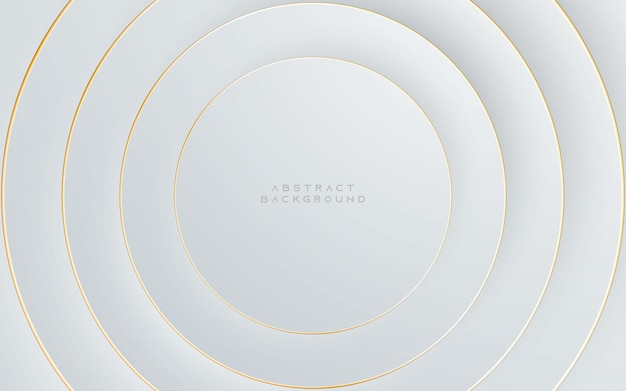Moderne abstracte licht zilveren achtergrond. elegant cirkelvormig ontwerp met gouden lijn.