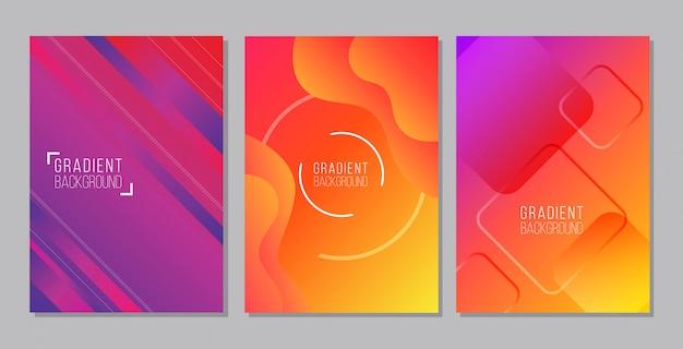 Moderne abstracte paarse en oranje banner set