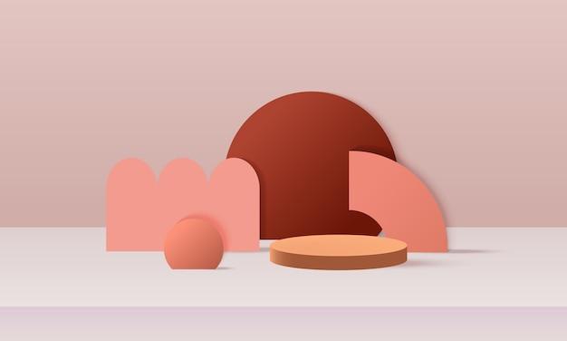 Moderne abstracte podiumweergave met terracottakleur