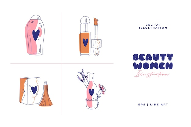 Moderne abstracte schoonheidsillustratie. lijn kunst tekenstijl. krabbelvector.