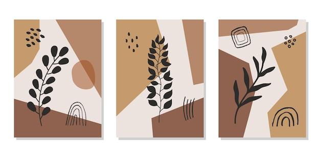 Moderne abstracte set esthetische achtergronden met geometrische balansvormen en tak