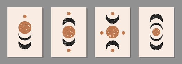 Moderne abstracte set esthetische achtergronden met getextureerde verschillende geometrische vormen