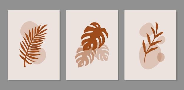 Moderne abstracte set esthetische achtergronden met organische vormen en tak wanddecor in boho-stijl