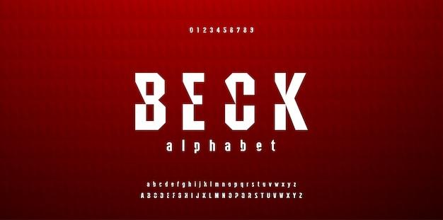 Moderne abstracte sport lettertype alfabet en cijfers
