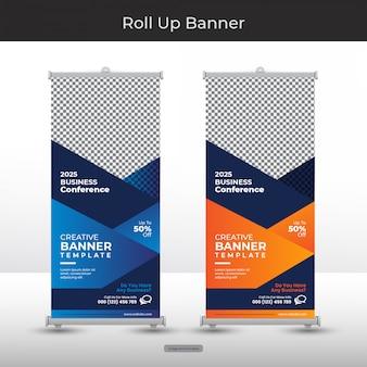 Moderne abstracte stand of roll-up banner sjabloon met blauwe en oranje kleur vorm