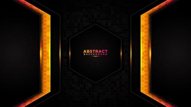 Moderne abstracte technologie oranje achtergrond. futuristisch technologieontwerp als achtergrond, met doos hexagon patroon.