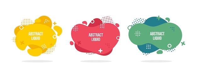 Moderne abstracte vectorbannerreeks. vlakke geometrische vloeibare vorm met verschillende kleuren.