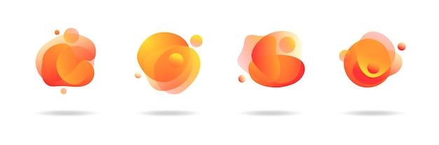 Moderne abstracte vectorbanners stellen vlakke geometrische vloeibare blobvormen in kleurrijke kleuren in