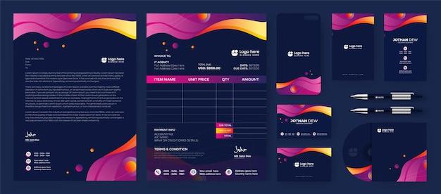 Moderne abstracte zakelijke zemelen identiteit briefpapier gradiënt blauw premium vector