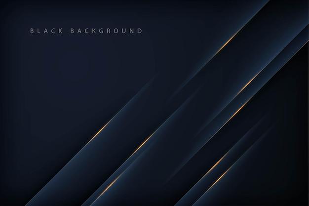 Moderne abstracte zwarte achtergrond met gouden lijn
