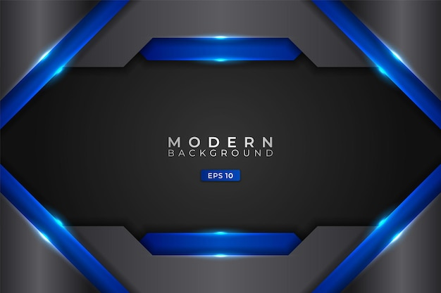 Moderne achtergrond abstracte futuristische technologie realistisch gloeiend blauw metallic