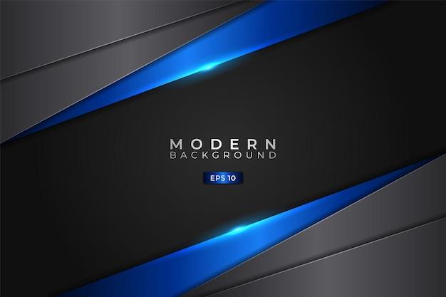 Moderne achtergrond diagonaal overlapt metallic glanzend blauw en grijs