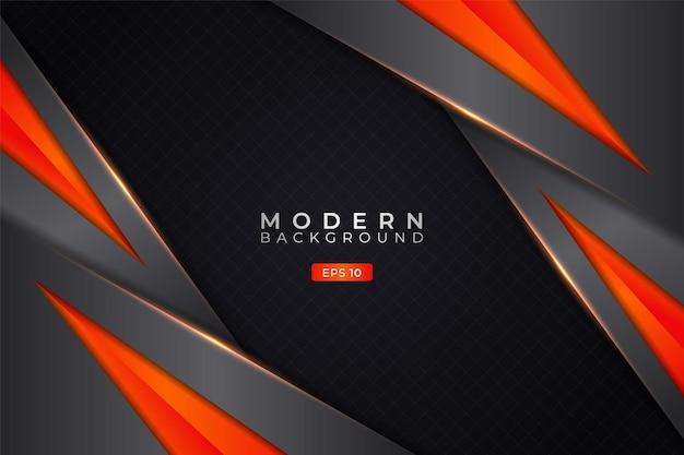 Moderne achtergrond diagonale overlappende laagtechnologie 3d realistisch elegant metallic glanzend oranje