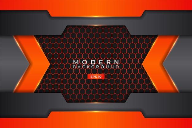 Moderne achtergrond futuristische technologie 3d realistisch elegant metallic glanzend oranje
