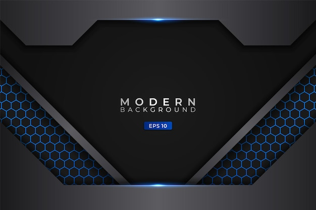Moderne achtergrond futuristische technologie gloeiend blauw metallic met zeshoek