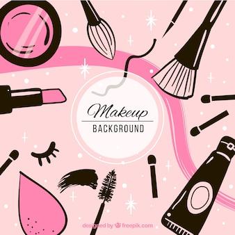Moderne achtergrond met hand getrokken cosmetica