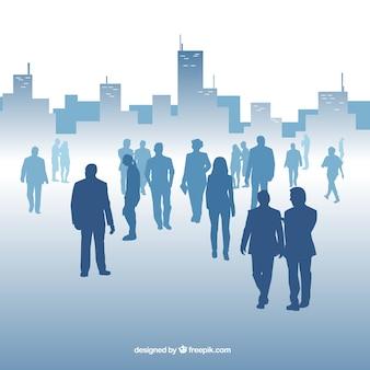 Moderne achtergrond met professionals en gebouwen