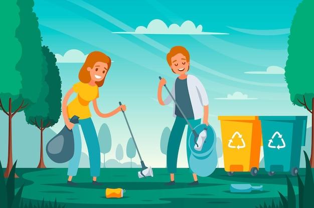 Moderne afvalinzameling voor afvalsortering, platte compositie met vrijwilligers die zwerfvuil oprapen dat buiten is achtergelaten illustratie