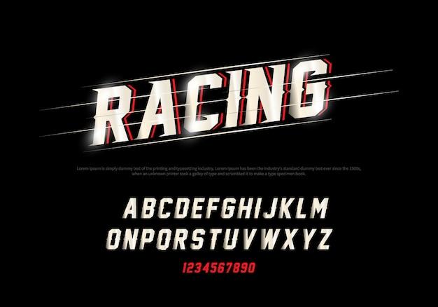 Moderne alfabet- en nummerlettertypen. racing typografie lettertype