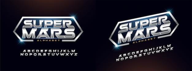 Moderne alfabet lettertype zilveren technologie typografie