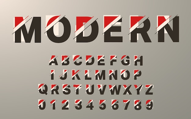 Moderne alfabet sjabloon. glitch typografie letters en cijfers ingesteld.