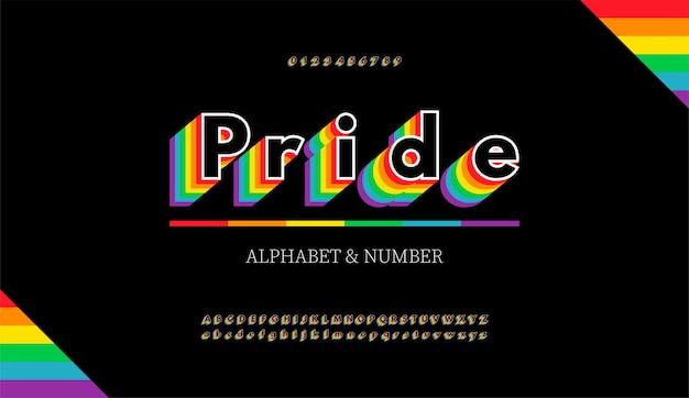 Moderne alfabetletters en cijfers met regenboogkleuren. regenboogvlag kleuren lgbt-lettertype.