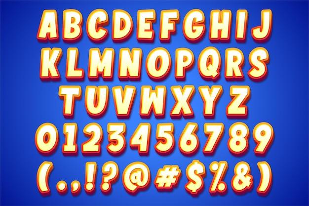 Moderne alfabetstijl in cartoonstijl