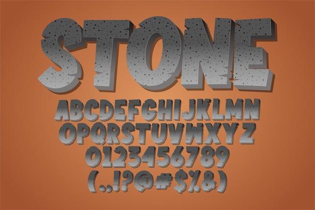 Moderne alfabetstijl met steeneffect