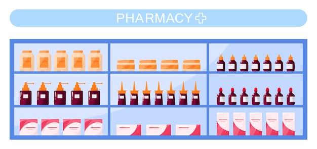 Moderne apotheekrekken met medicijnen en medicijnen. gezondheidszorg en medische behandeling concept.