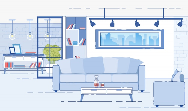 Moderne appartementen comfortabel interieur platte vector