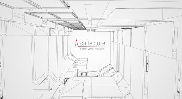 Moderne architectuur draadframe.